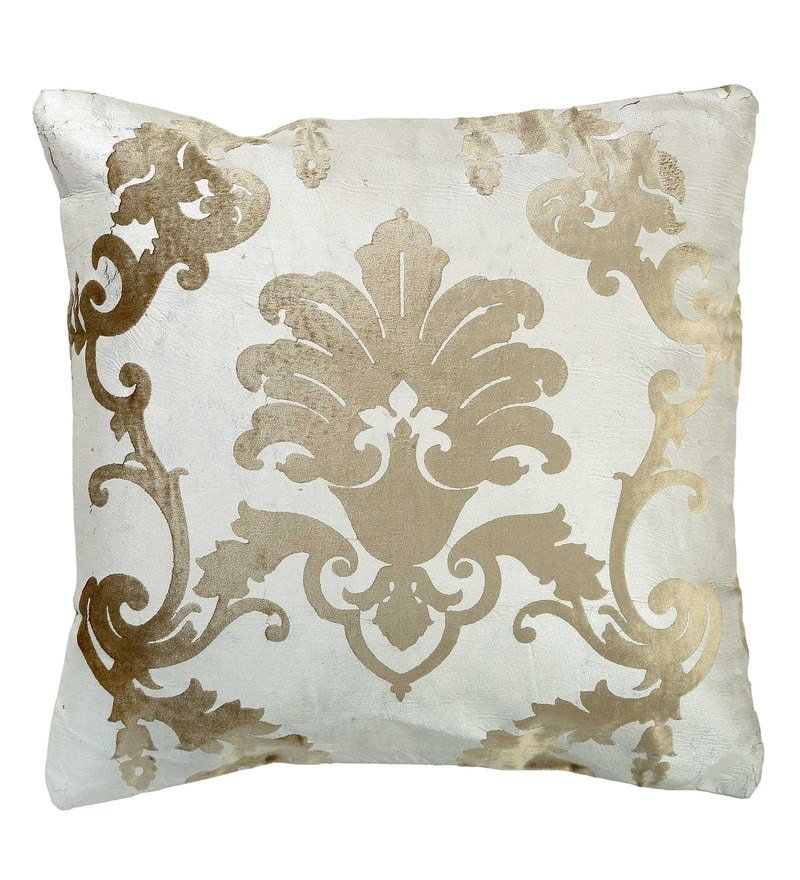 Silver Velvet 16 x 16 Inch Motif Foil Print Cushion Cover by Skipper