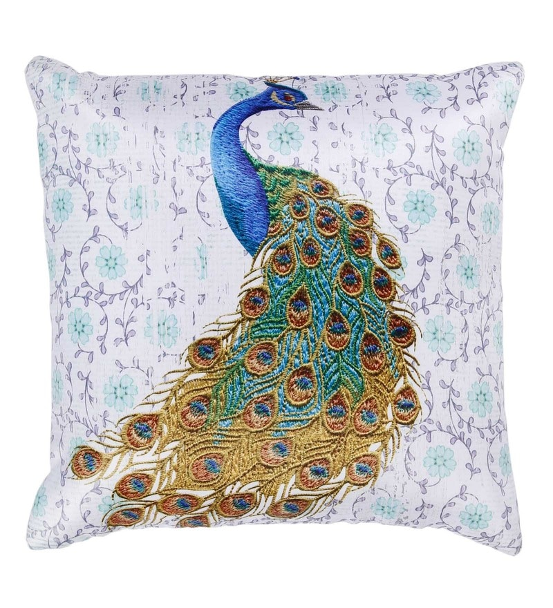 White Polyester 16 x 16 Inch Peacock Digital Printed Cushion Cover by Skipper