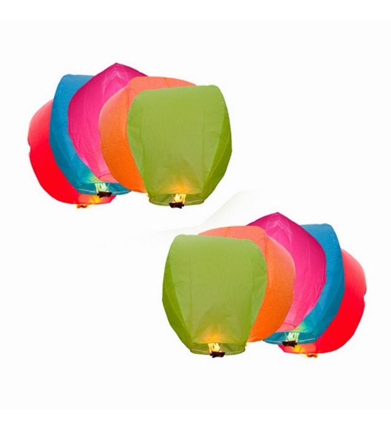 Multicolour Set Of 10 Sky Lantern by Skycandle