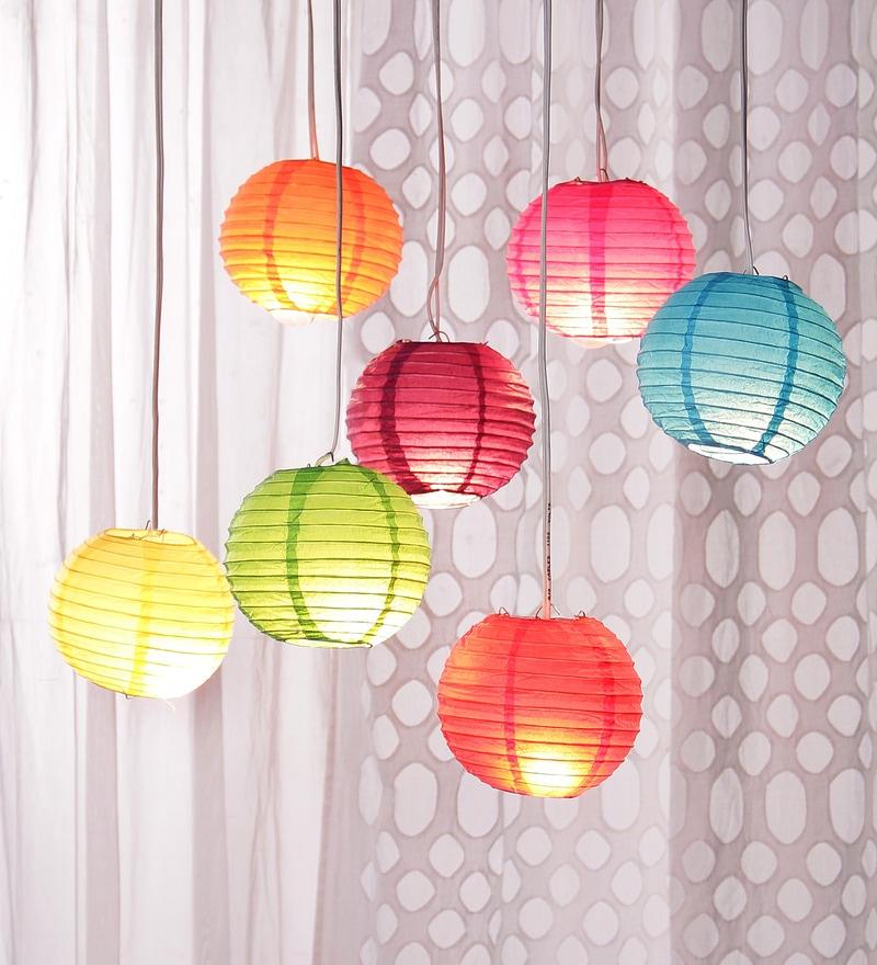 Multicolour Globular Paper Lantern - Set of 7 by Skycandle