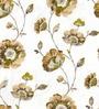 Skipper Brown Polyester & Cotton Flower Design Window Curtain - Set of 2