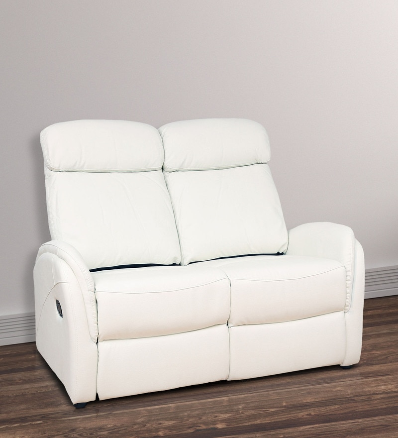 Two Seater Motorized Recliner Sofa In Half Leather