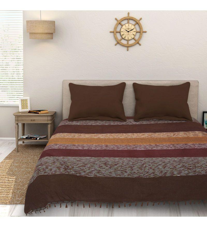 Sleep Sure Maroon Cotton 100 x 108 Inch Yarn Dyed Handloom Bed Cover