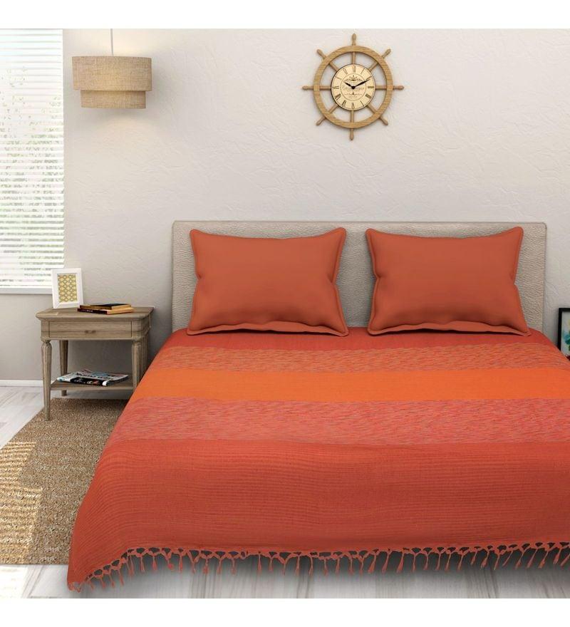 Sleep Sure Orange Cotton 100 x 108 Inch Yarn Dyed Handloom Bed Cover