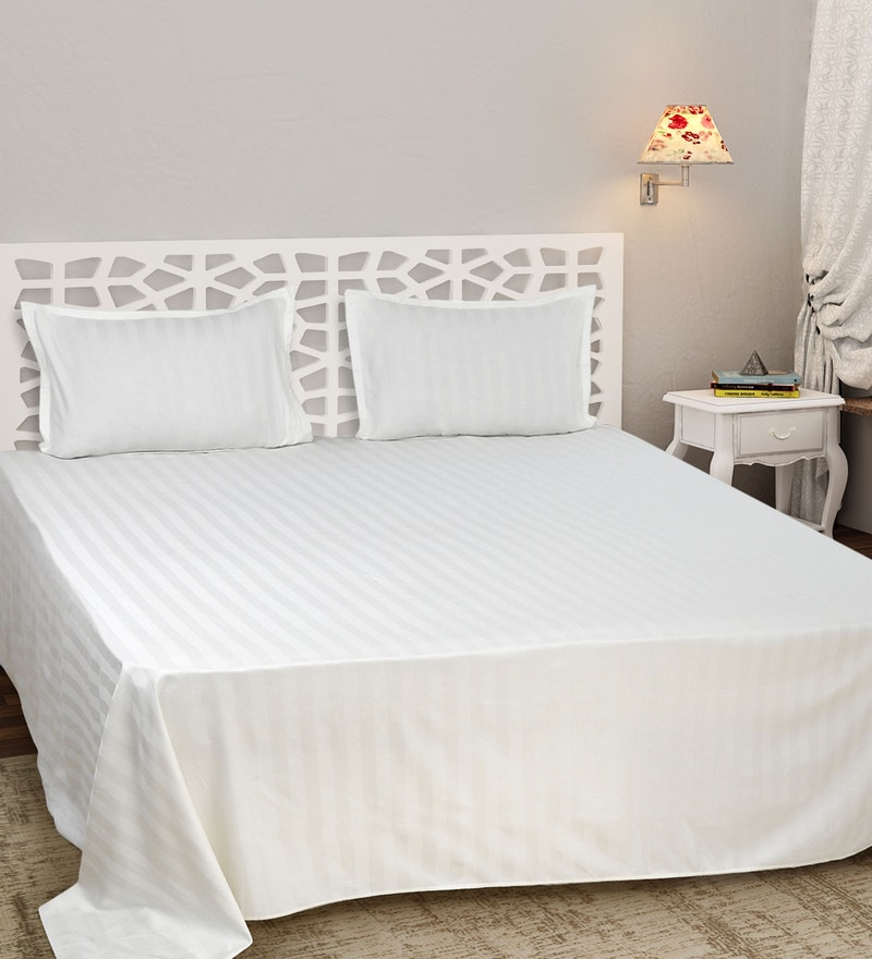 Sleep Sure White Cotton Satin Single Size Self Stripe Premium Bed Sheet Set