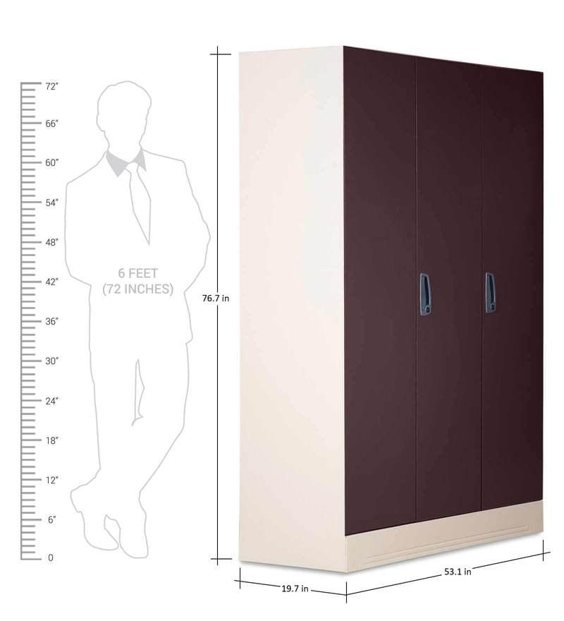 Buy Slimline Three Door Wardrobe With Drawer By Godrej