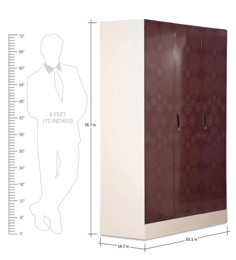 Buy Slimline Three Door Wardrobe With Locker In Copper