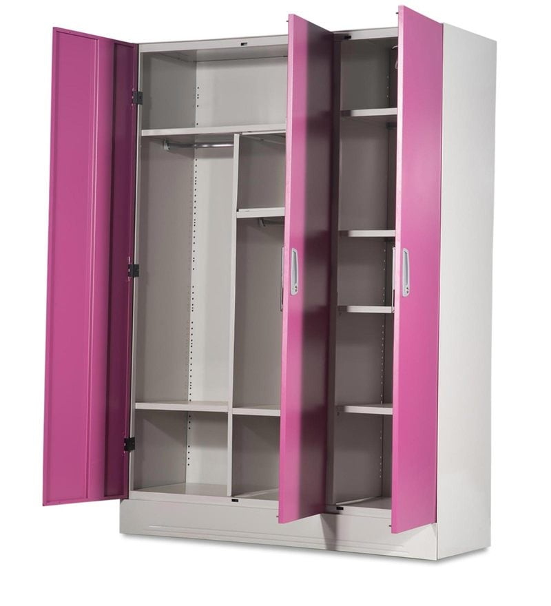 Buy Slimline Three Door Wardrobe With Locker In Purple Color By Godrej Interio Online 3 Door