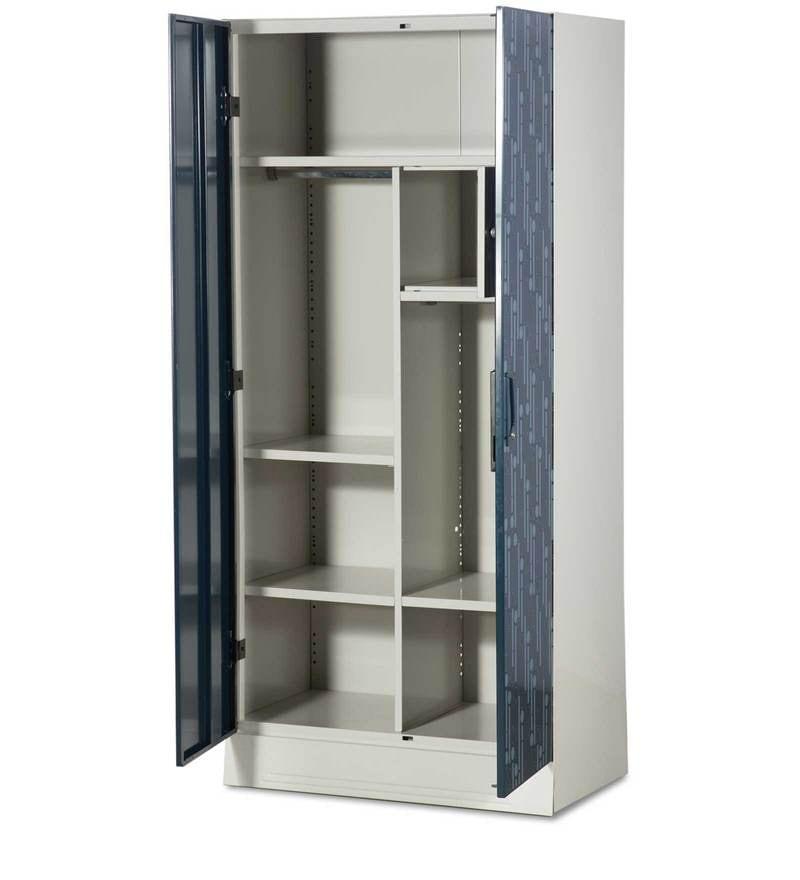 Buy Slimline Two Door Wardrobe With Locker In Metallic