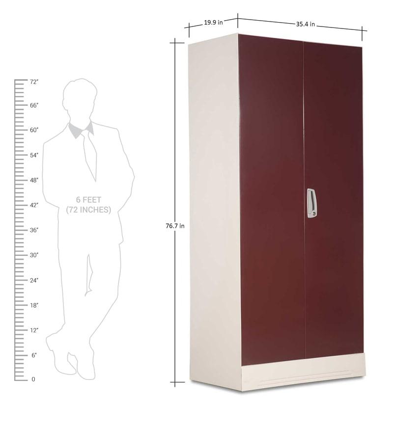 Buy Slimline Two Door Wardrobe With Locker In Russet Color