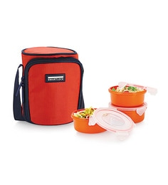 Smart Lock Airtight Tiffin Box With Insulated Bag Melamine Dark Orange Set Of 3