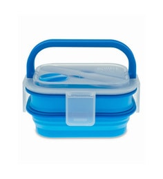 Smart Planet Silicone Collapsible Double Decker Blue Lunch Box