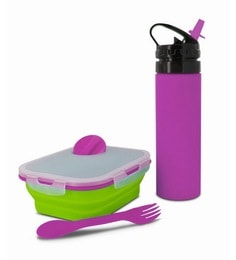 Smart Planet Silicone Collapsible Kids Pink & Green Lunch Box With Eco Squeez Bottle