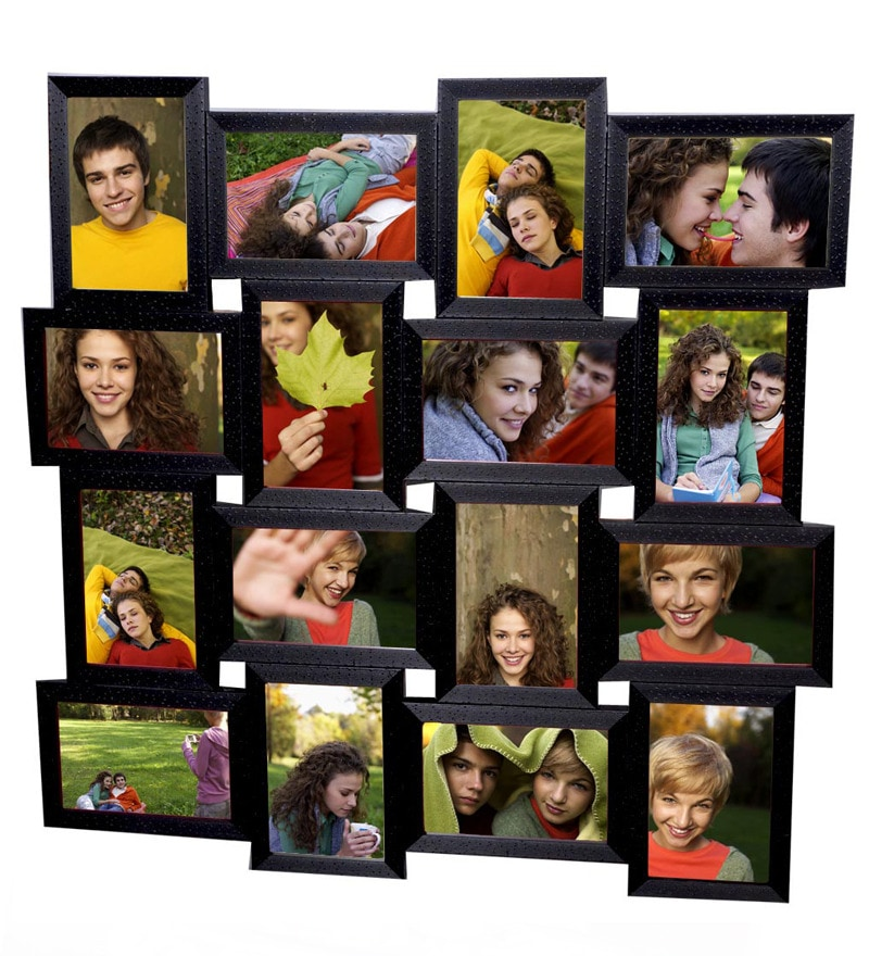 Black Wooden 4 x 6 Inch Photo Collage Frame by Snap Galaxy