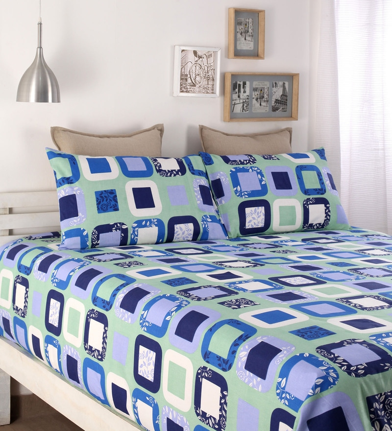 Blue Cotton Queen Size Bed Sheet - Set of 3 by Snuggles