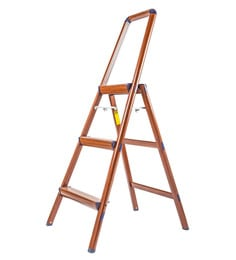 Solo Wooden Finish Aluminium 3 Steps 4.3 Ft Light Weight Ladder