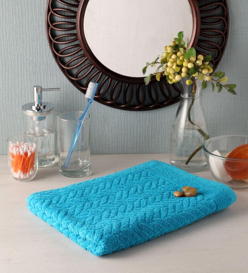 Blue Cotton 35 x 20 Bath Towel by Softweave