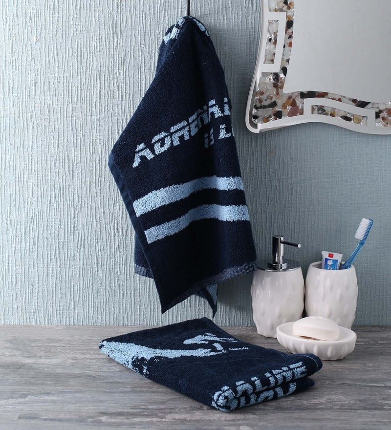 Blue Cotton 35 x 80 Adrenaline is Legal Face Towel by Softweave