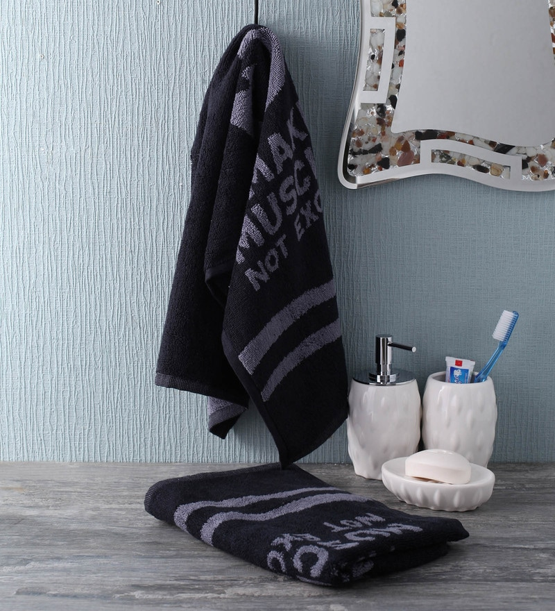 Grey and Black Cotton 35 x 80 Make Muscles Not Excuses Face Towel by Softweave