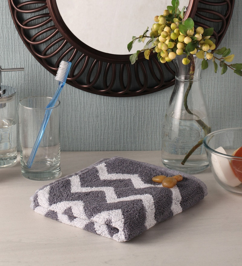 Grey Cotton 24 x 16 Hand Towel by Softweave