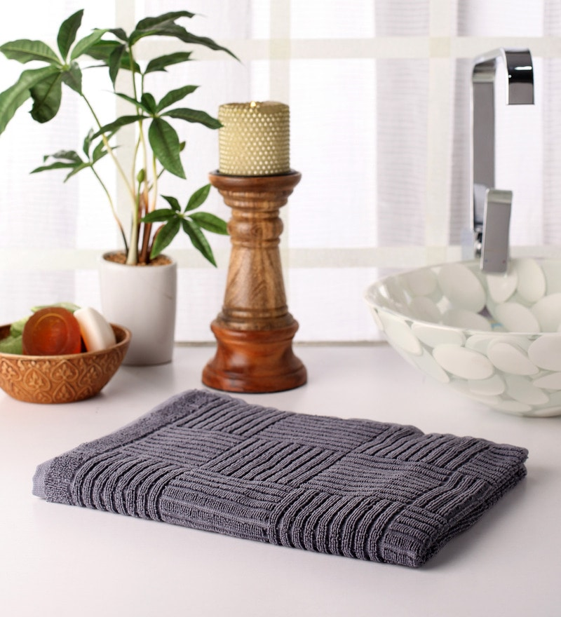 Grey Cotton 39 x 20 Hand Towel by Softweave