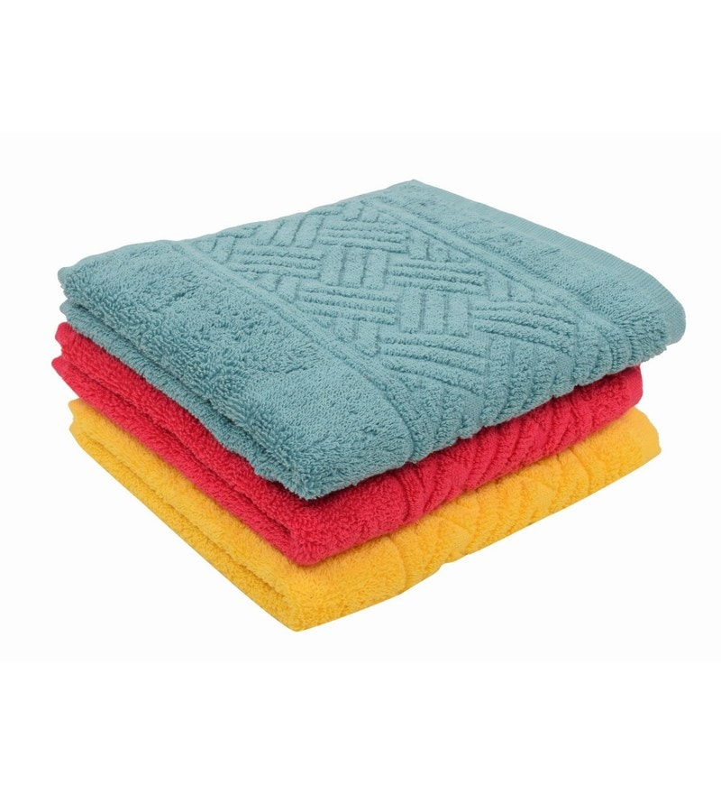 Multicolour 100% Cotton 16 X 24 Hand Towel - Set of 3 by Softweave