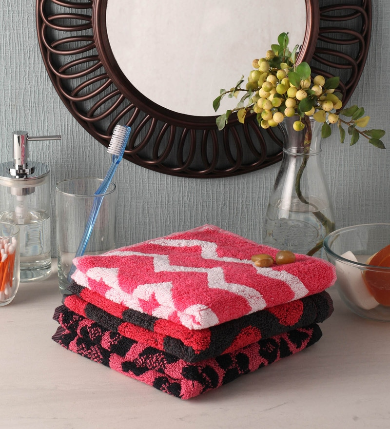 Pink and Red Cotton 16 x 24 Hand Towel - Set of 3 by Softweave