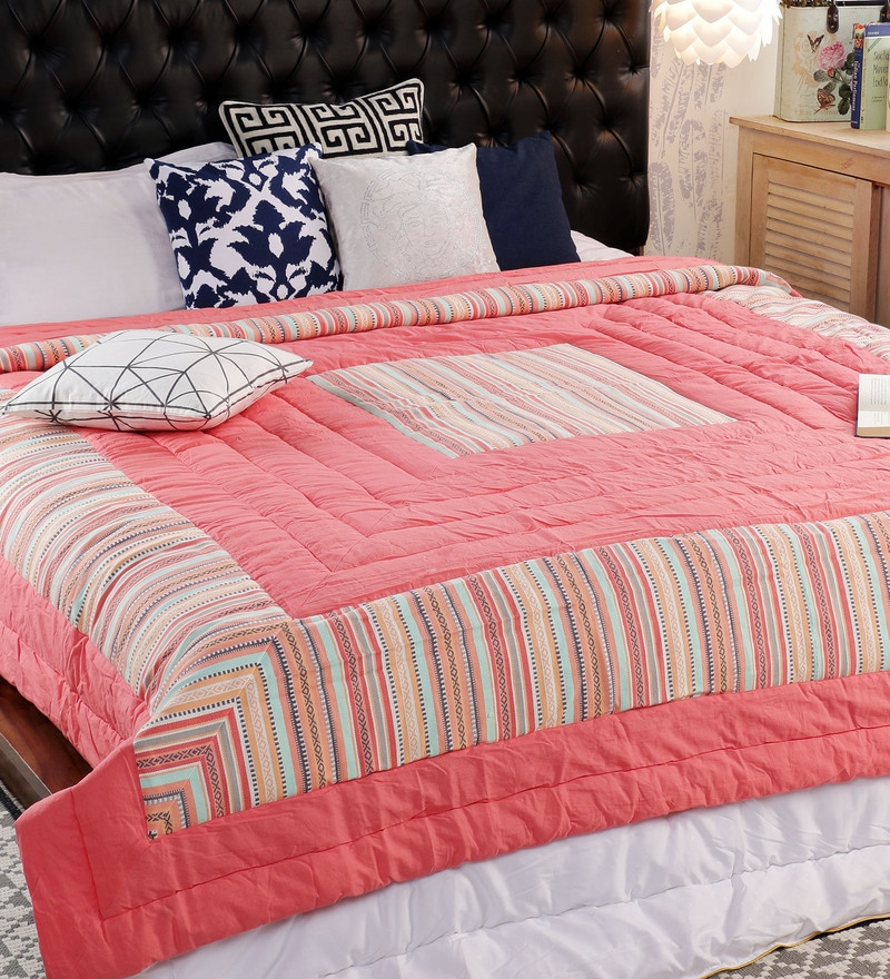 Multicolour 100% Cotton Double Size Comforter by Solaj