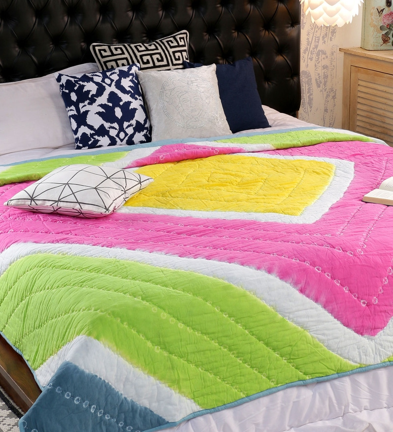Multicolour 100% Cotton Double Size Quilt by Solaj
