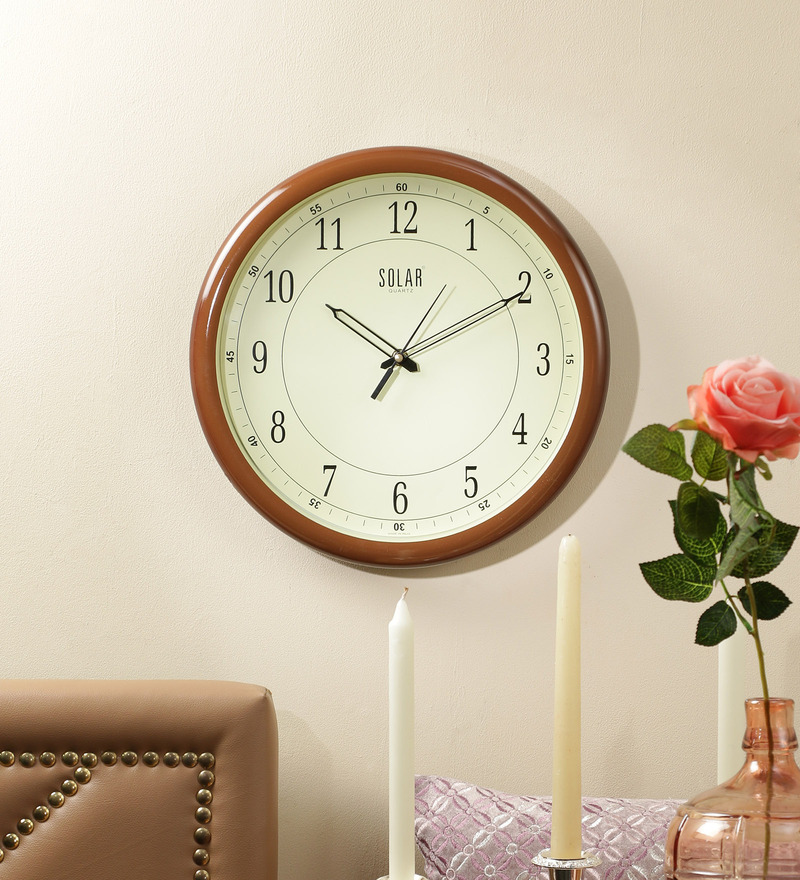 Brown Plastic 13 Inch Round Wall Clock by Solar