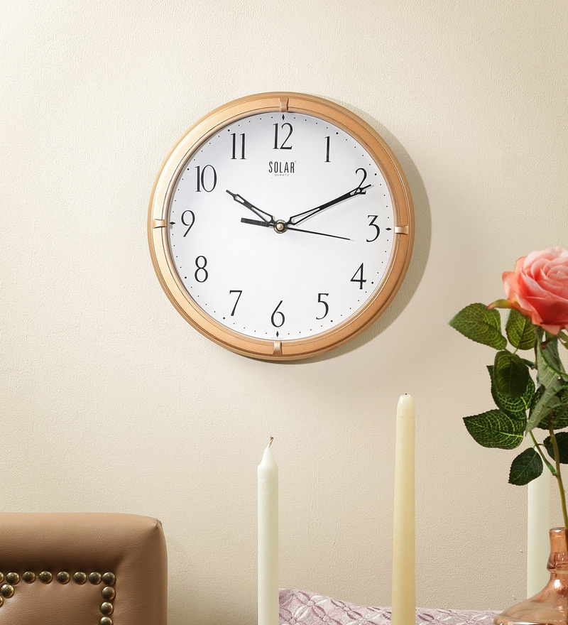 Gold Plastic 10 Inch Round Wall Clock by Solar