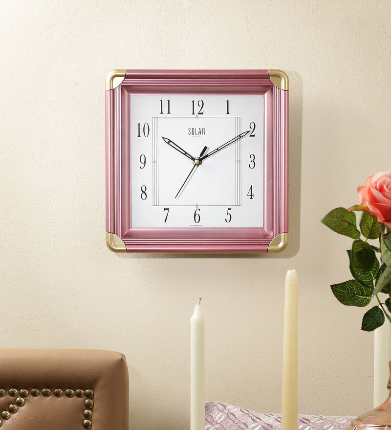 Pink Plastic 10 x 2 x 10 Inch Simple Wall Clock by Solar