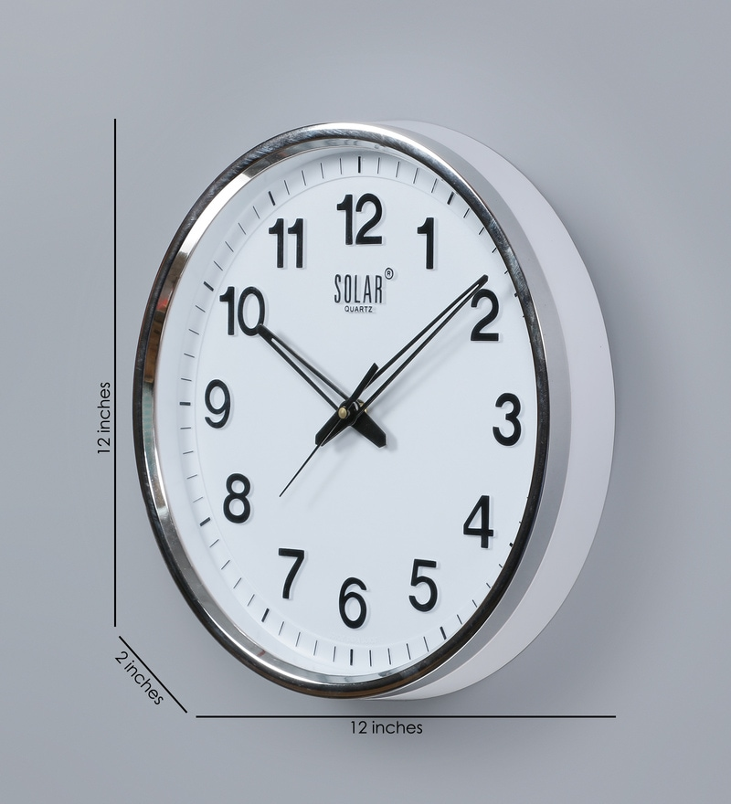 Buy Silver Finish Plastic 12 Inch Wall Clock By Solar Online Contemporary Wall Clocks Wall