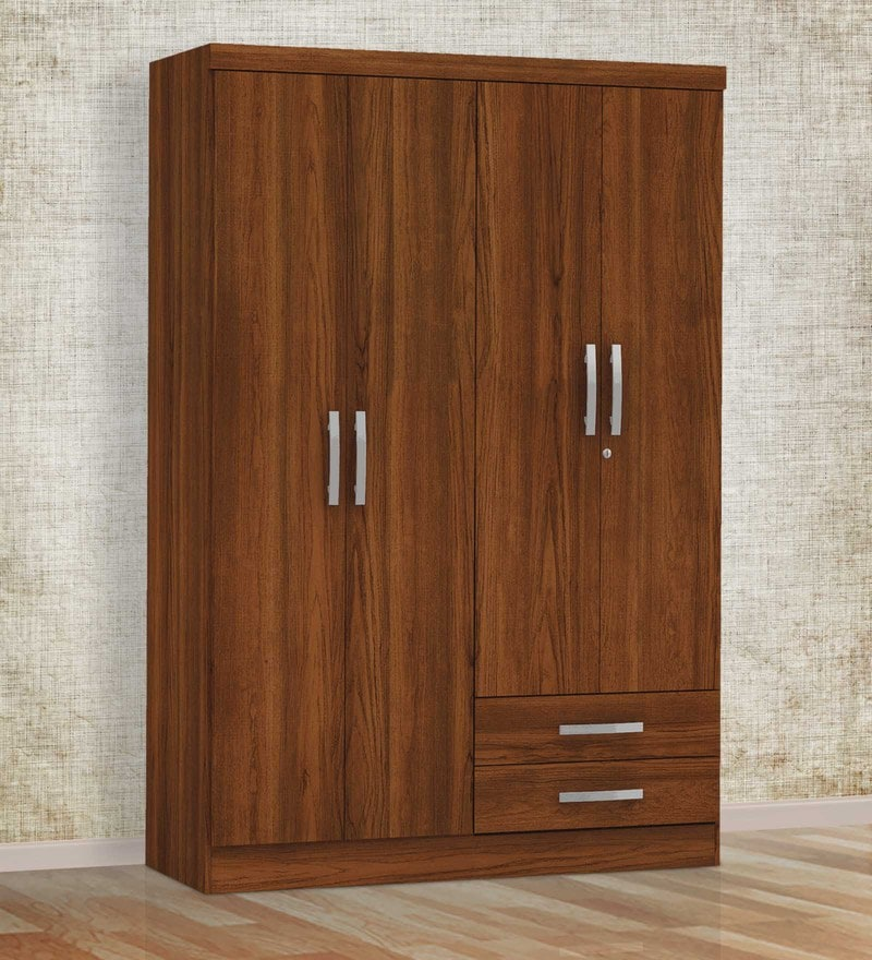 Sora Four Door Wardrobe in Teak Finish by Mintwud