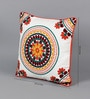 Multicolour Cotton 18 x 18 Inch Embroidered Ethnic Cushion Cover by Solaj