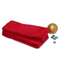 Spaces Red 100% Cotton 16 X 24 Inch Swift Dry Hand Towel - Set Of 2