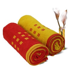 Spaces Red And Gold 100% Cotton 27 X 55 Inch Atrium Towels - Set Of 2