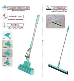 Spotzero PVA Sponge Mop With 180 Degree Water Wiper - Set Of 2