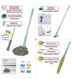 Spotzero Zero Dust Broom With Cleaning Mop & Floor Cleaning Brush - Set Of 3