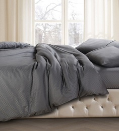 Spread Grey 100% Cotton Double Size Duvet Cover