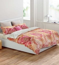 Esprit Home Autumn Blossoms Multicolour 100% Cotton Abstract Single Bed Sheet (with Pillow Covers) - Set Of 2