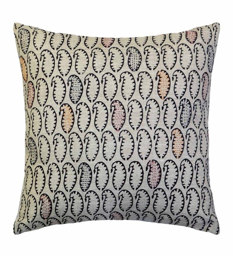 Spaces Amber 100% Cotton 16 x 16 Inch Spun Syahi Cushion Cover