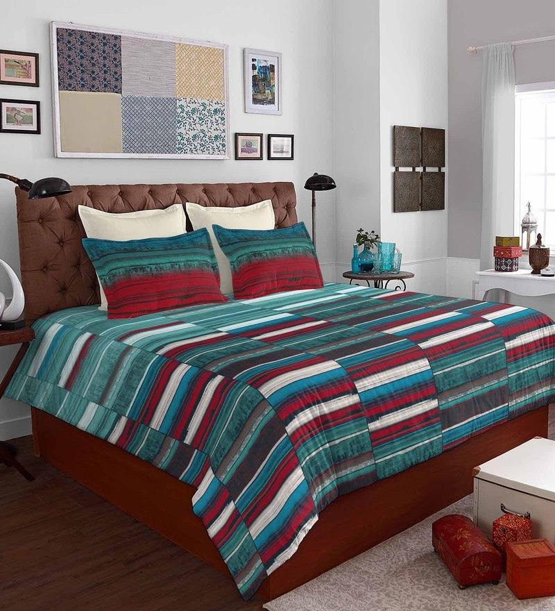 Aqua 100% Cotton Bohochic King Bed Sheet Set by Spaces