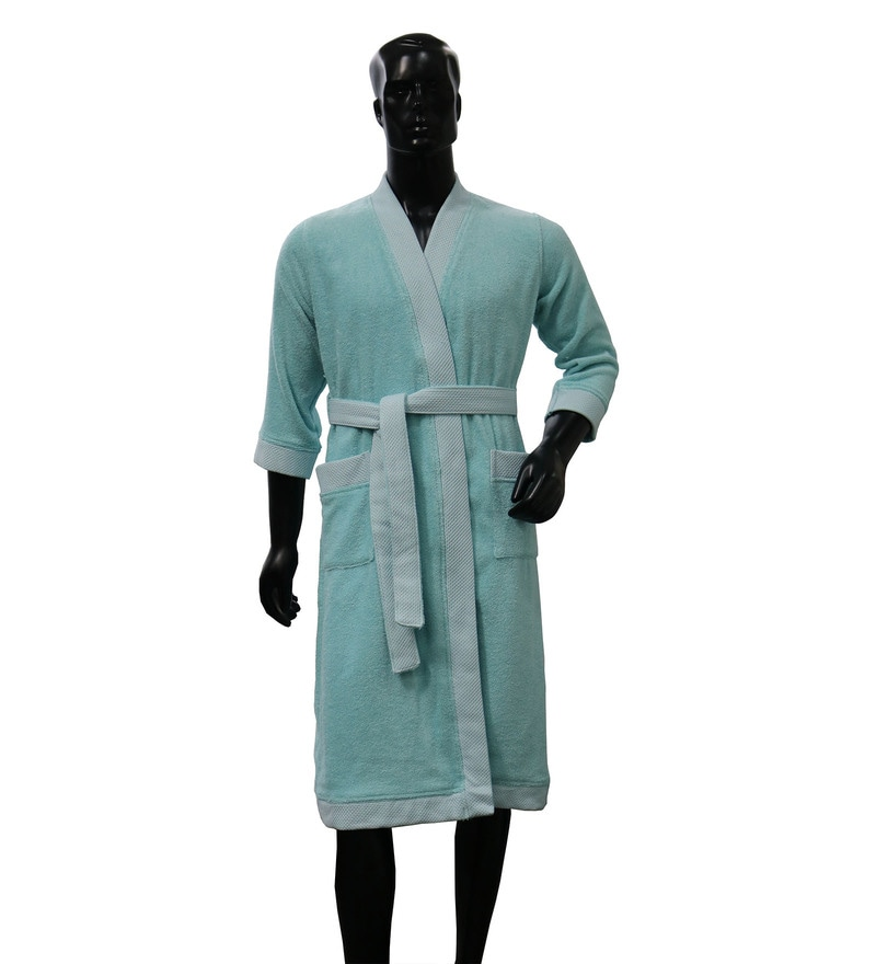Spaces Aqua 100% Cotton Hygro Large Bathrobe