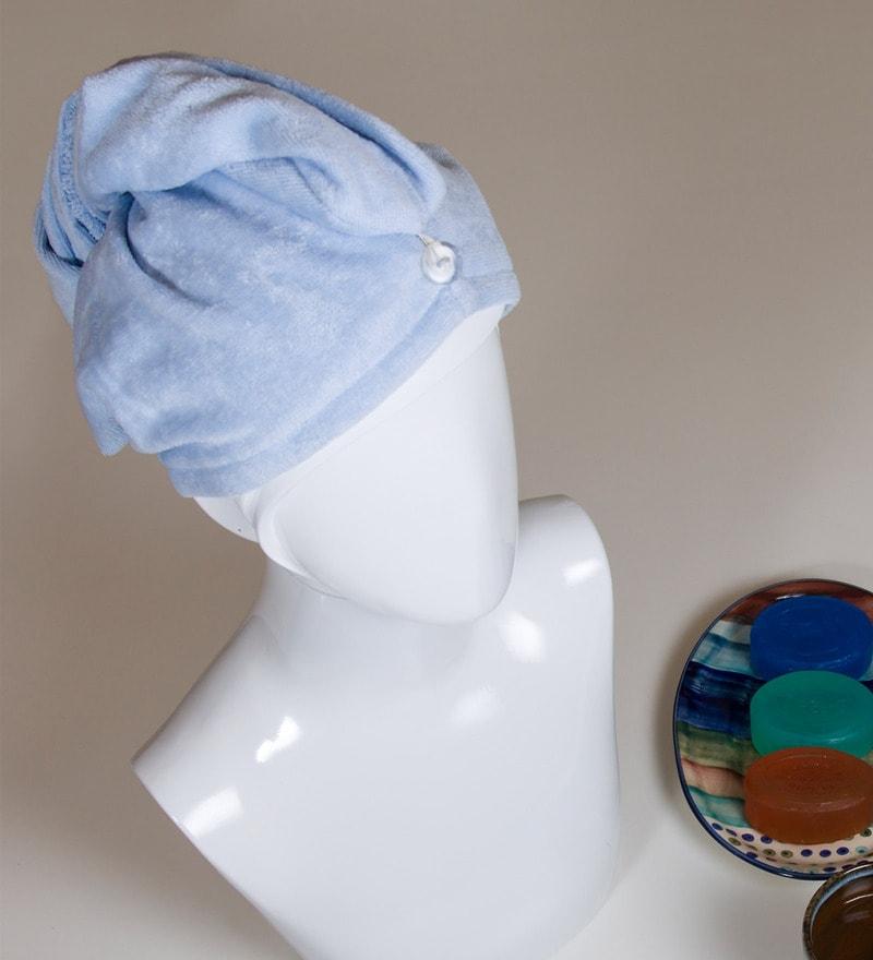 Spaces Blue 100% Cotton 25 x 10 Inch Turbie Enrobe Head Towel