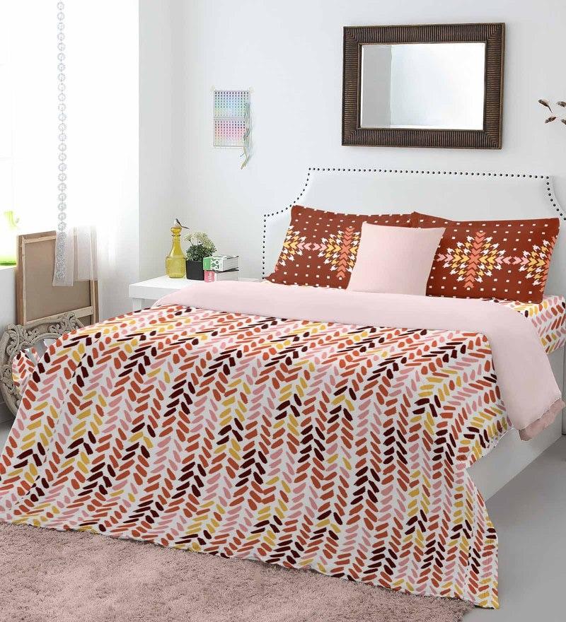 Multicolour 100% Cotton Allure Bed Sheet Set by Spaces