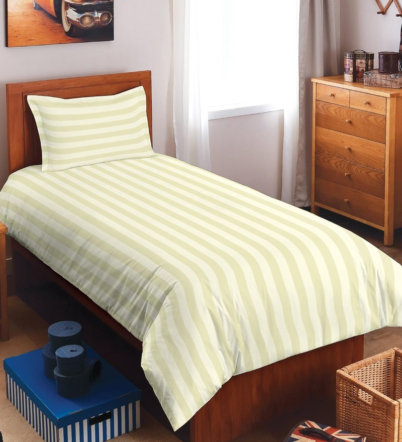 Spaces Ivory 100% Cotton Sky Rise Single Bed Sheet With 1 Pillow Cover