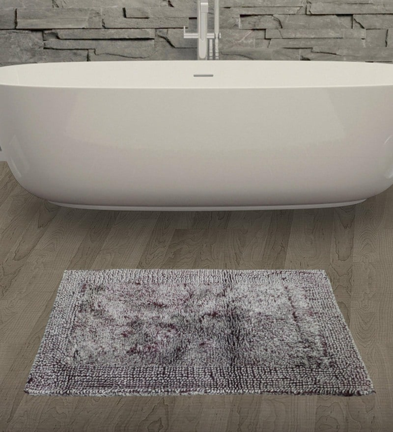 Maroon 100% Cotton 16 x 24 Inch Youthopia Denim Bath Mat by Spaces