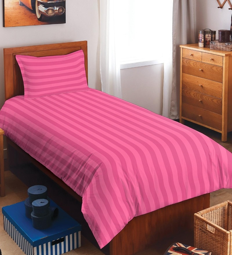 Spaces Pink 100% Cotton Sky Rise Single Bed Sheet With 1 Pillow Cover
