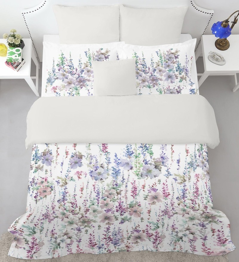Purple 100% Cotton Courtyard King Bed Sheet Set by Spaces